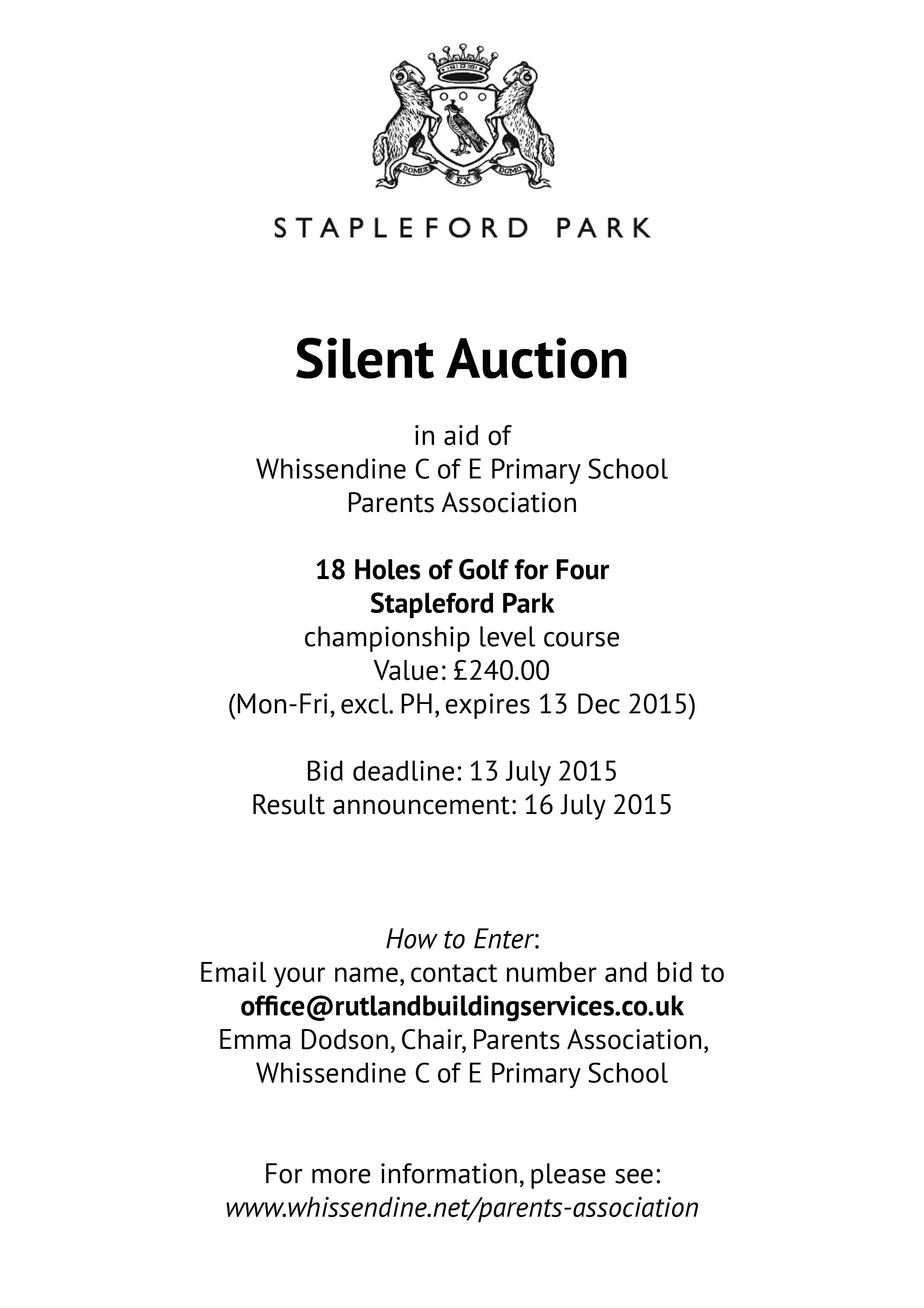Whissendine, Rutland – Silent Auction – 18 Holes of Golf ...