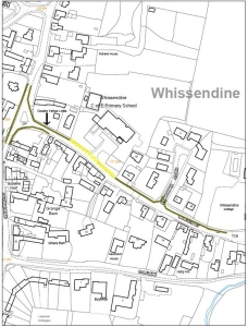 Location of proposed double yellow lines on Main Street Whissendine