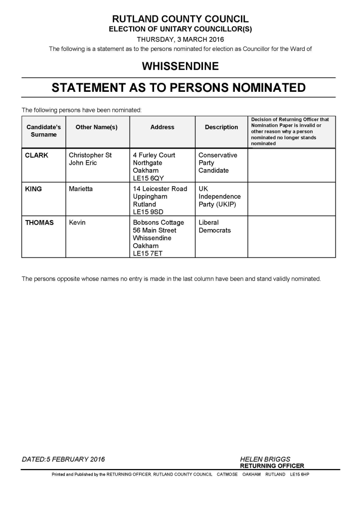 Statement of Persons Nominated - Whissendine March 2016