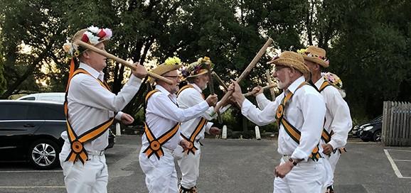 Rutland Morris Men performing outside The White Lion Inn